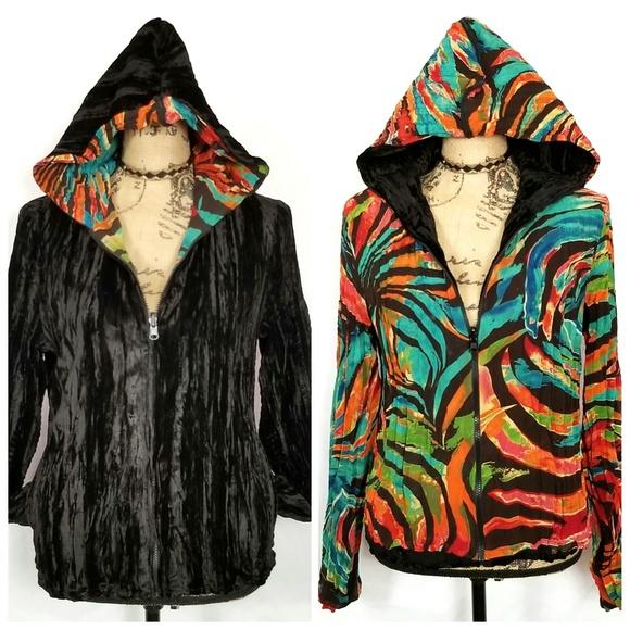 Tops - REVERSIBLE Full Zip Up Hoodie Jacket